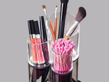 Makeup Brush Holder Cup with 3 Storage Box
