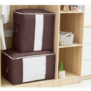 Set of 4 Clothing Pouch Portable Organizer Non Woven Holder Blanket Pillow Under bed Storage Bag