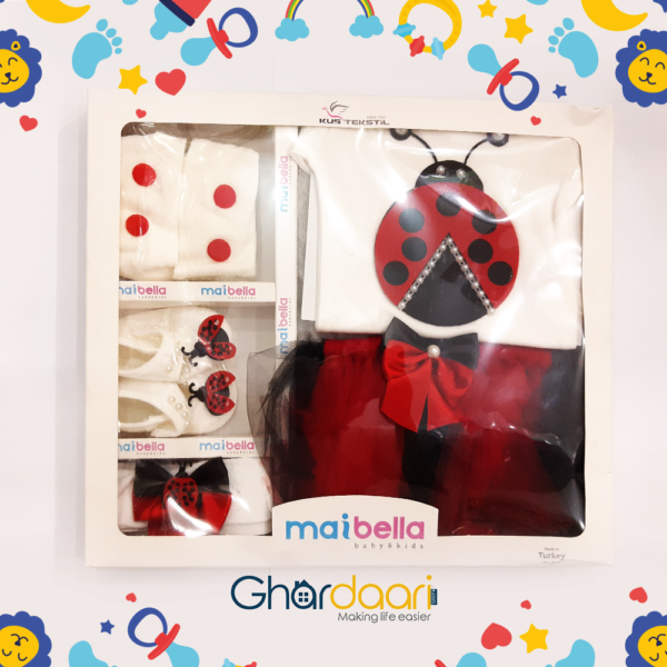 Mai Bella Ladybug Red & White Party dress for baby girl