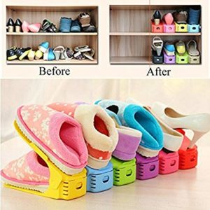 Folding single pair shoes organizer folding plastic simple shoe rack
