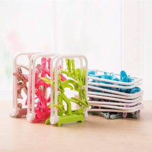 Set of 2 Folding Portable Travel Clip, Drip Drying Hanger Rack with 12 Clips for Clothes Socks