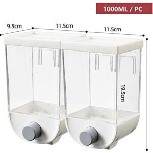 Wall-mounted Cereal Container Dispenser,Food Storage Containers Cereal Canisters Plastic Airtight Containers Oatmeal Dispenser Sealed Can for Dry Food,Nuts,Candy,Beans (1000ML