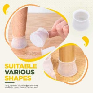 24Pcs/Set Silicone Rectangle Square Round Chair Leg Caps Feet Pads Protective Furniture Table Covers Wood Floor Protectors Pads